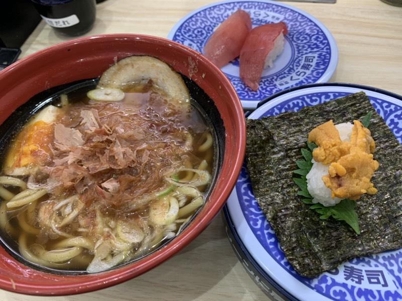 くら寿司 千葉中央店 - 追い鰹醤油ラーメン + 極み熟成まぐろ + たっぷりうに手巻一貫